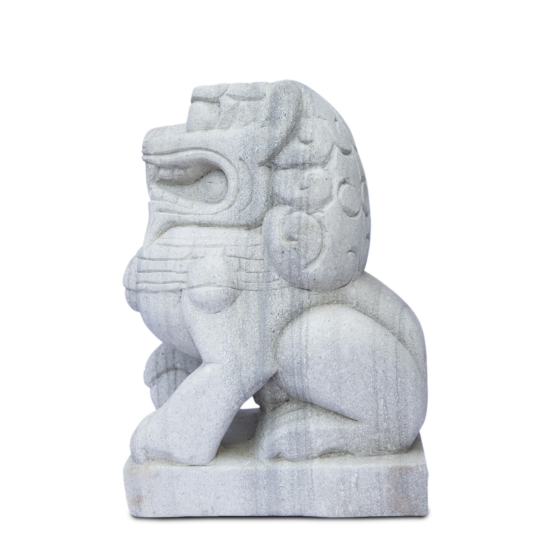 Fu Hund Wächterlöwe Skulptur Tempelwächter Rechts ca. 64 cm Wetterfest Stein-Gemisch massiv Grau – Bild 6