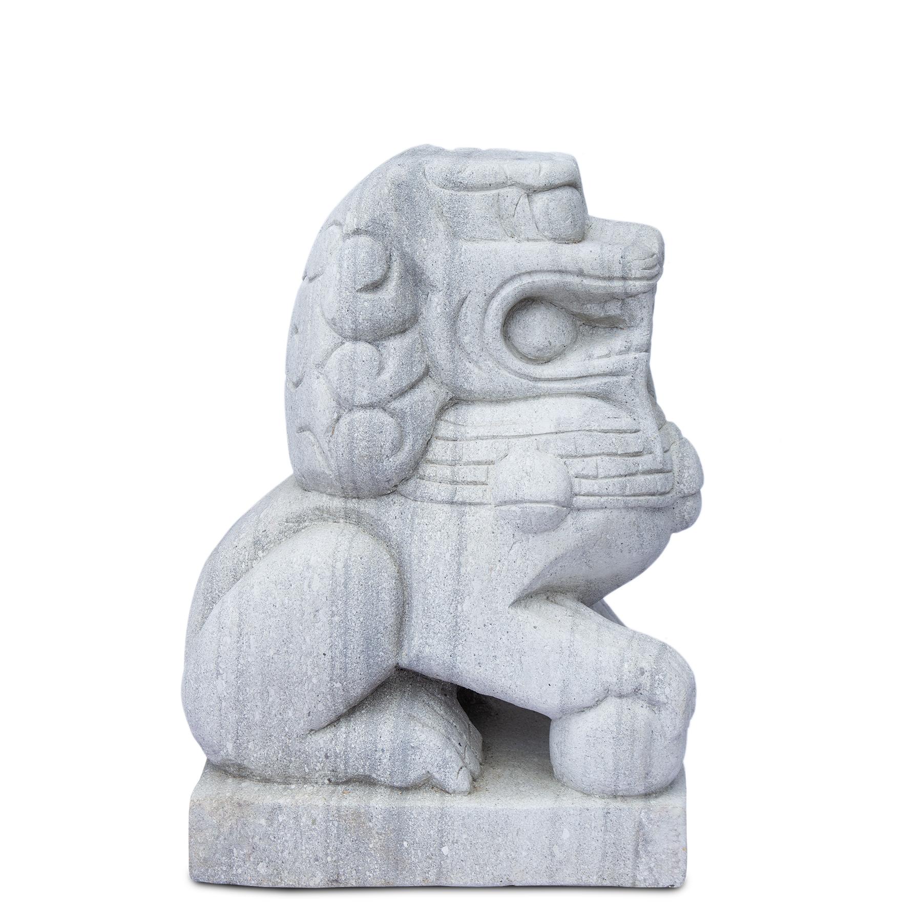 Fu Hund Wächterlöwe Skulptur Tempelwächter Rechts ca. 64 cm Wetterfest Stein-Gemisch massiv Grau – Bild 4