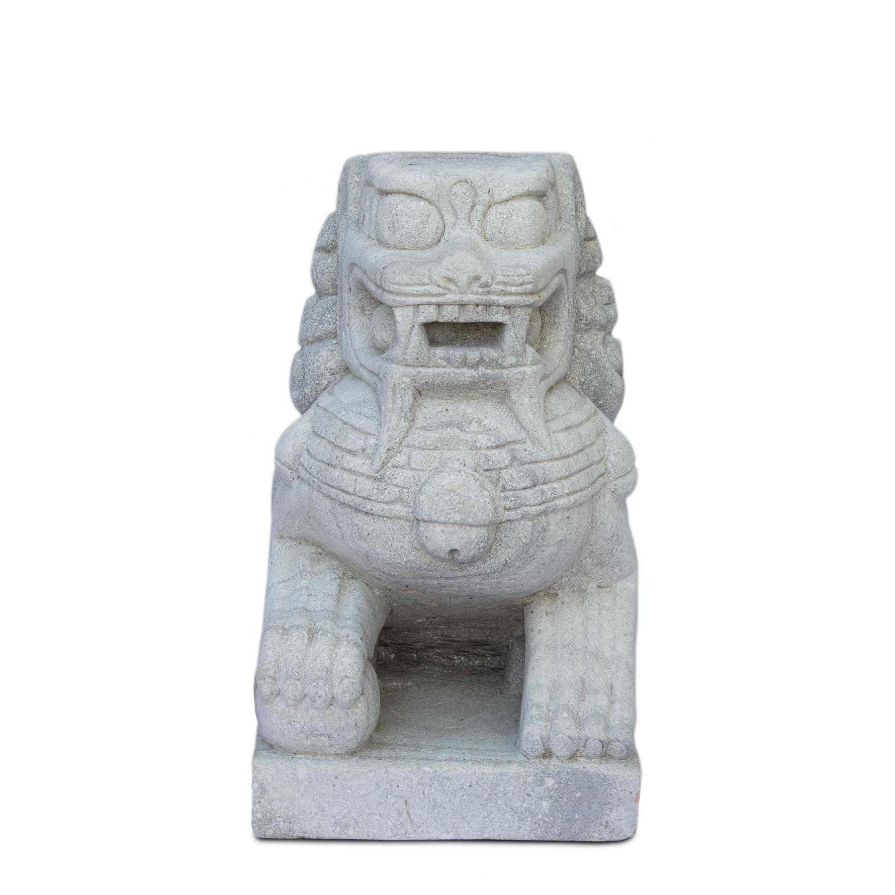 Fu Hund Wächterlöwe Skulptur Tempelwächter Rechts ca. 64 cm Wetterfest Stein-Gemisch massiv Grau – Bild 2