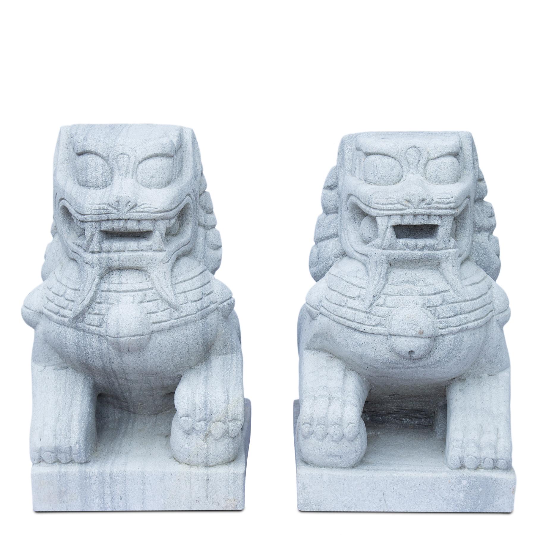 Fu Hunde Wächterlöwen Paar Skulptur Tempelwächter ca. 64 cm Wetterfest Stein-Gemisch massiv Grau
