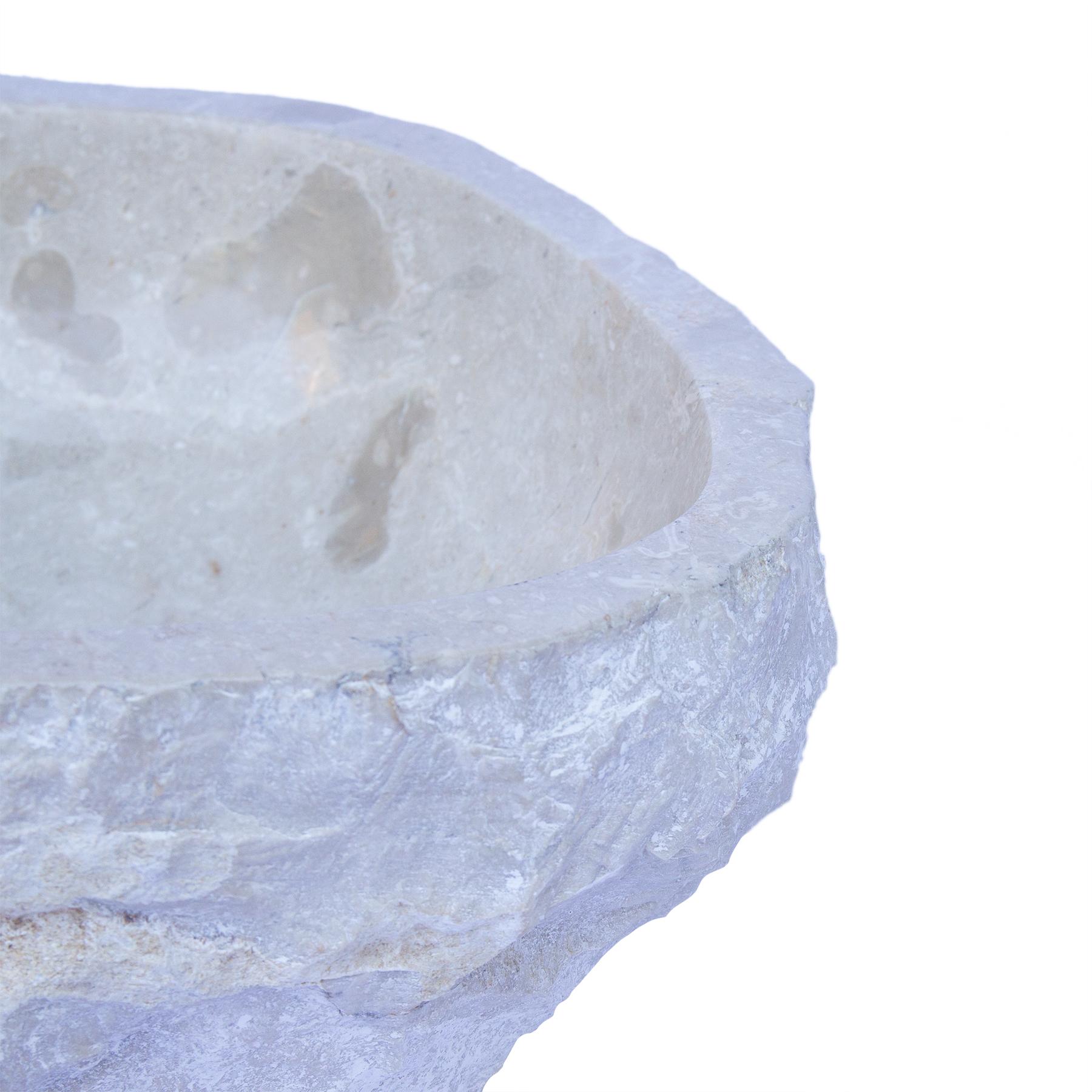 Waschbecken Marmor Hell | Handwaschbecken Waschschale Aufsatzwaschbecken Massiv Naturstein – Bild 7