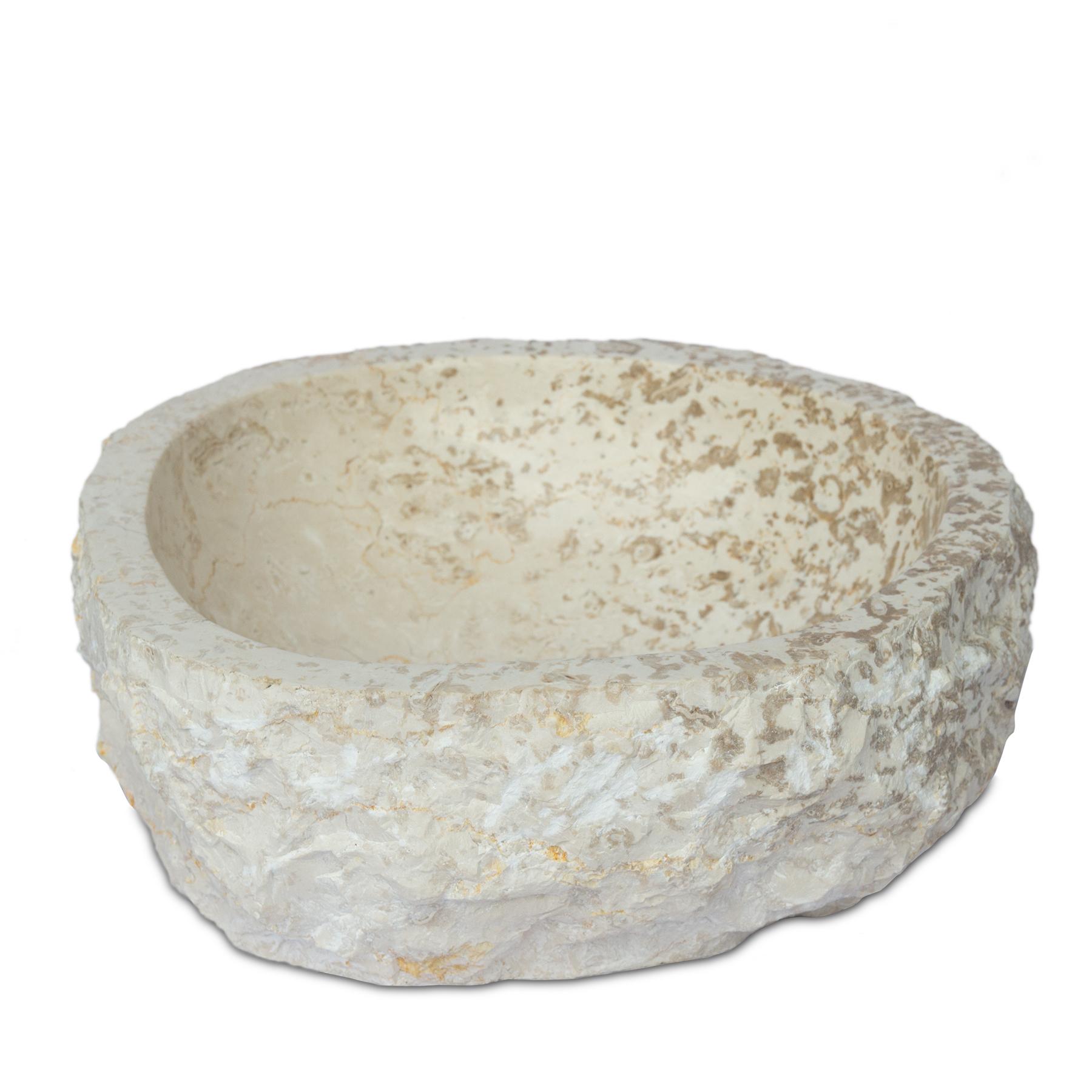 Marmor Waschbecken Hell ca. 39cm | Handwaschbecken Waschschale Aufsatzwaschbecken Massiv Naturstein – Bild 5