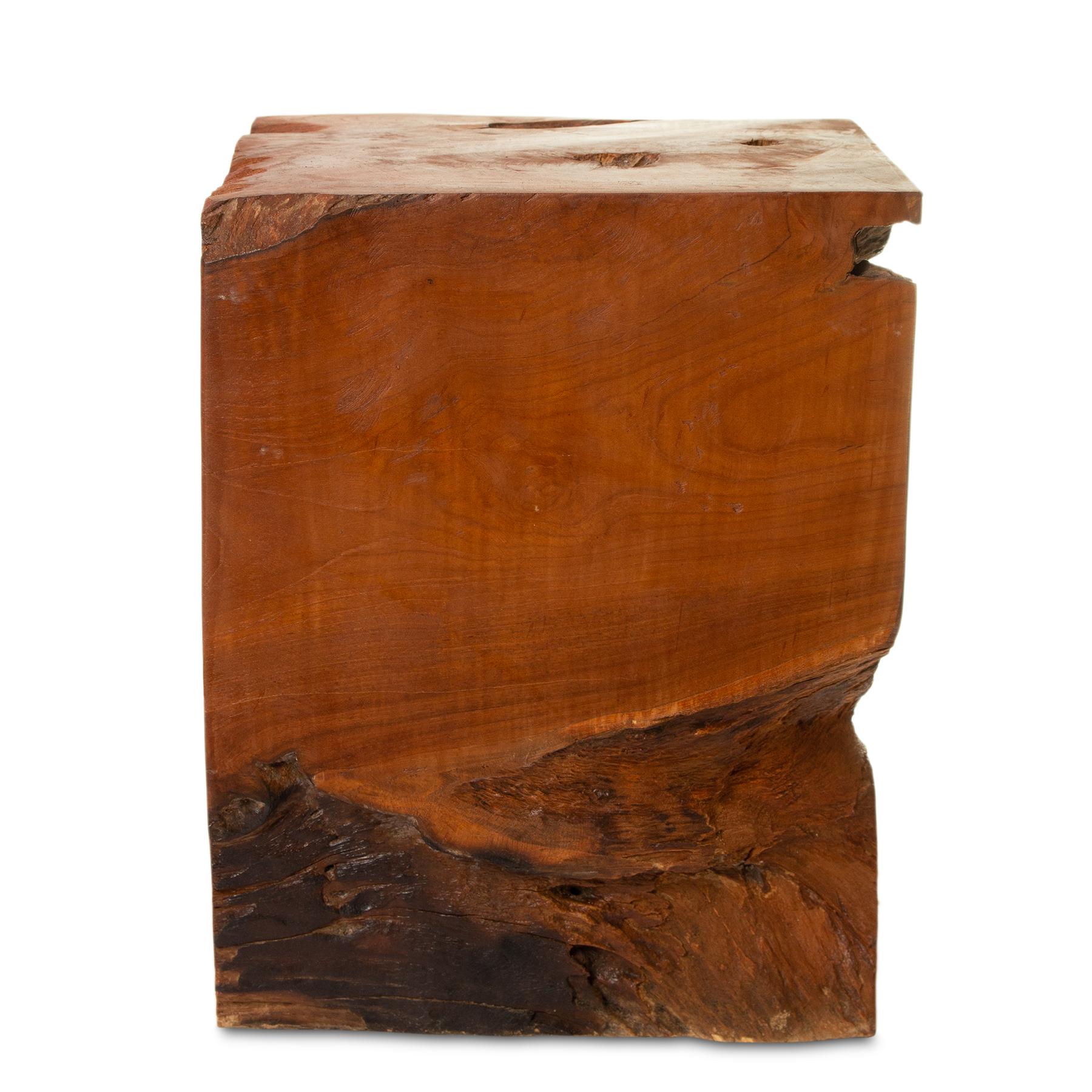 Teak Hocker ca. 40cm hoch Pfanzenhocker Beistelltisch Massiv Wurzelholz – Bild 3