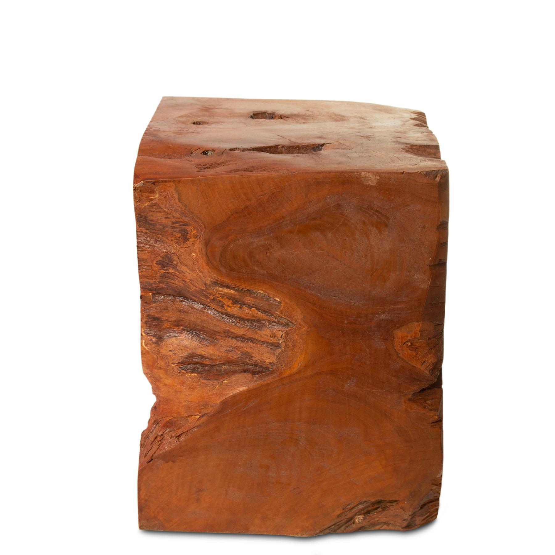 Teak Hocker ca. 40cm hoch Pfanzenhocker Beistelltisch Massiv Wurzelholz – Bild 5