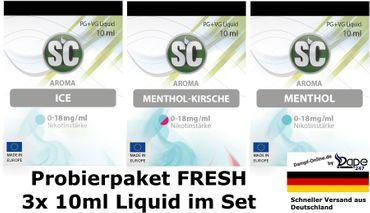 SC Liquids Set Fresh E-Liquid Liquid PROBIERBOX Probierpaket 3x 10ml 3er Sets 30ml
