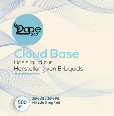 Vape247 Liquid Cloud Base 500ml 0mg 80 VG:20 PG - Deutsche Herstellung
