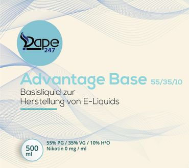 Vape247 Liquid Base Advantage 500ml 0mg 55 PG:35 VG:10 H²O - Deutsche Herstellung