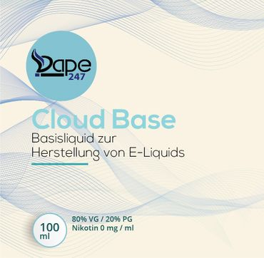 Vape247 Liquid Cloud Base 100ml 0mg 80 VG:20 PG - Deutsche Herstellung