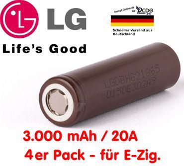 4x LG 18650 INR 18650 HG2 3000mAh 20A 3,6V Akku 4er Pack