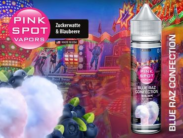 PINK SPOT - Blue Raz Confection - Boosted Liquid PLUS Shake ´n Vape  - überdosiert 50ml