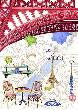 Gien Geschirrtuch Geschirrhandtuch Trockentuch Baumwolle Paris
