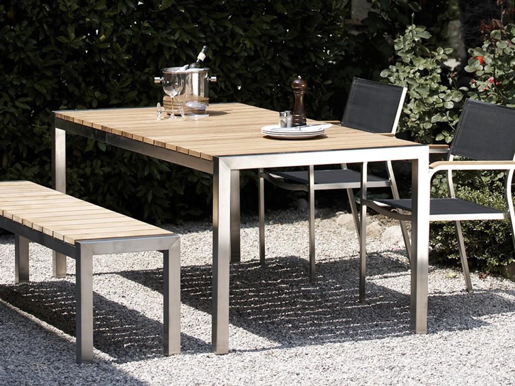 Teakholz tisch garten  Jan Kurtz Luxury Outdoor-Tisch in Edelstahl / Teak 180 x 75 x 90 ...