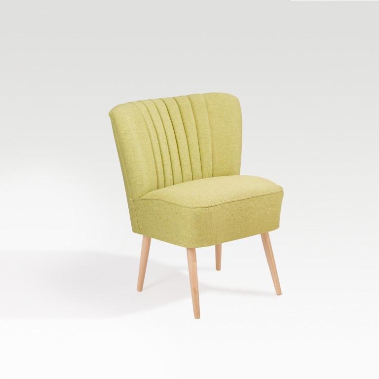 Necke Marino Cocktailsessel / Lounge Sessel Buche Natur / Bergamo Limone