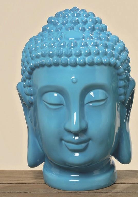 Buddha Kopf Deko.Buddhakopf Deko Gartendeko Buddha Feng Shui Geschenk Statue Blau Grün
