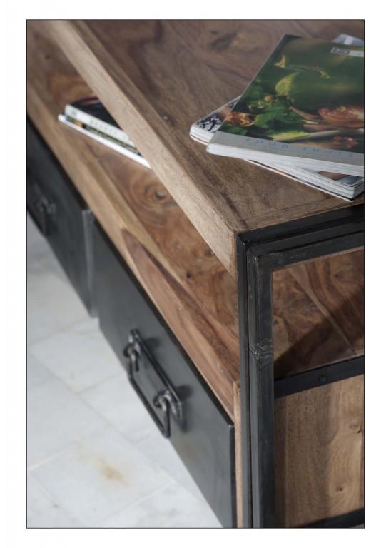 Lowboard TV Board Konsole 200 cm Kommode Panama Metall Massivholz ...