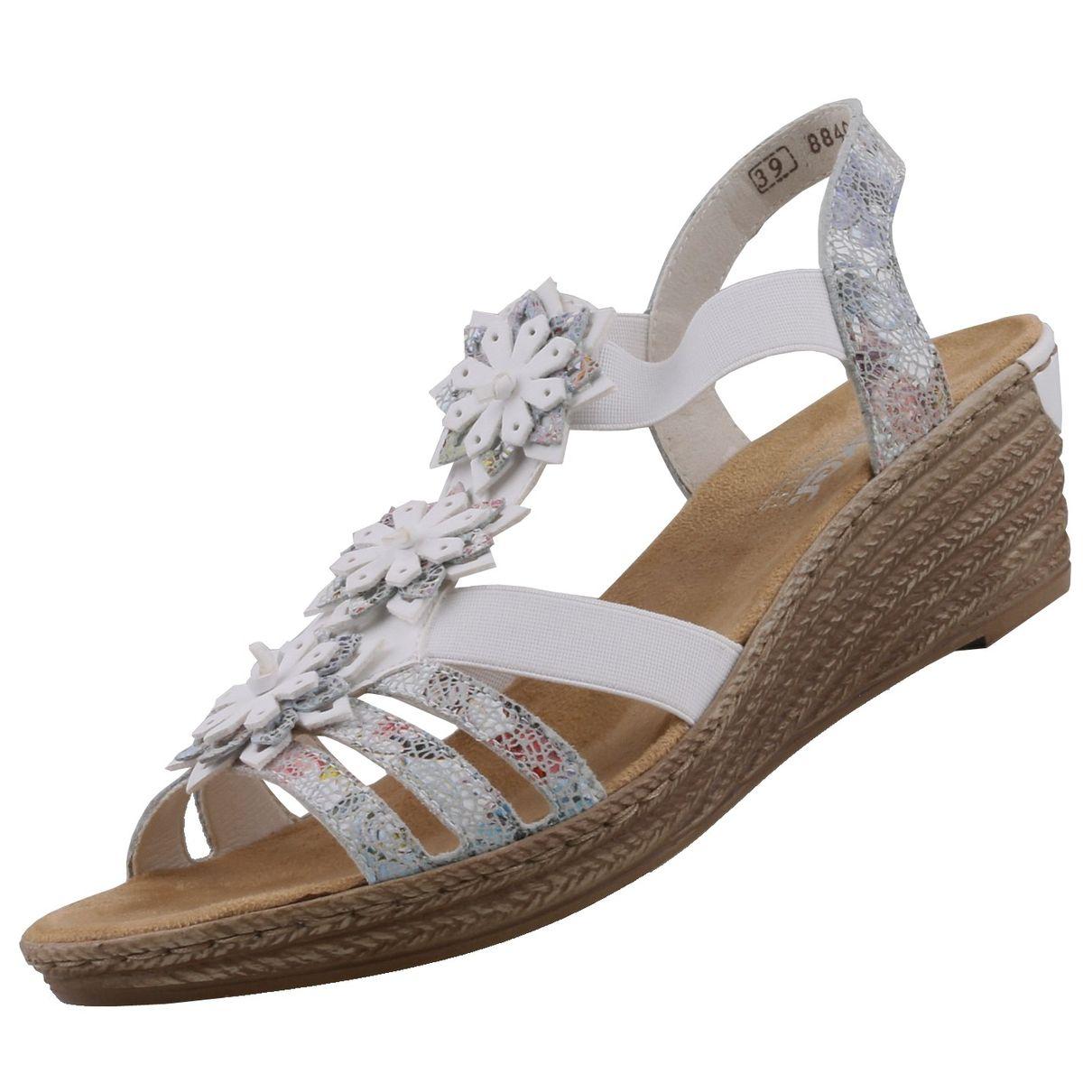 Damen Sandaletten Keil Weiß Rieker Trendbereich OzZxvznd
