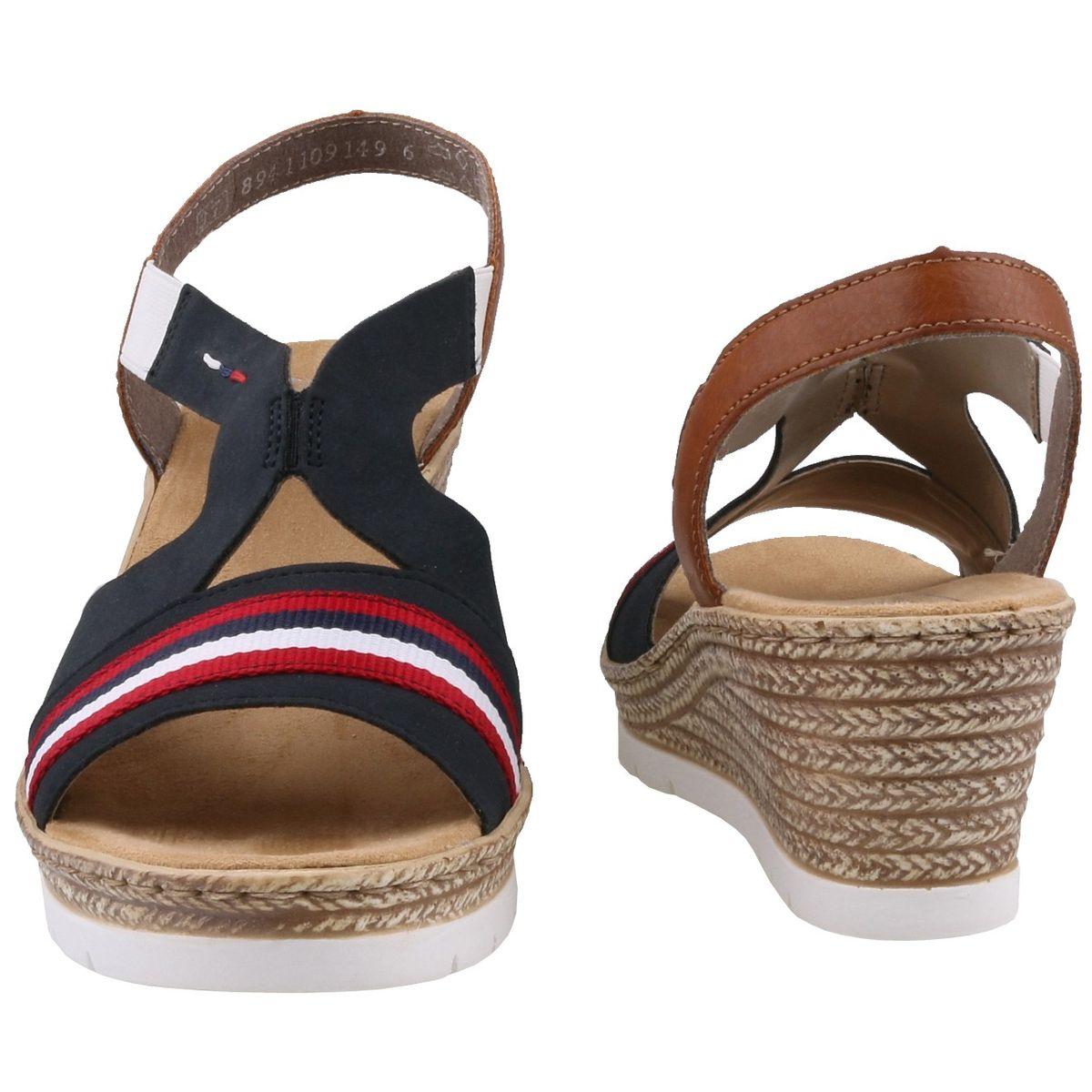 Rieker Damen Keil Sandaletten BlauRotWeiß   Trendbereich