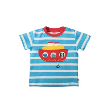 FRUGI Baby T-Shirt Little Fal Applique Sky Breton Boat Gr. 0-3 Monate 50 56 (K32)