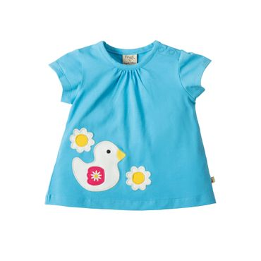 FRUGI Baby T-Shirt Amber Applique Top Sky Duck Blau Gr. 3-6 Monate 56 62 (K32)