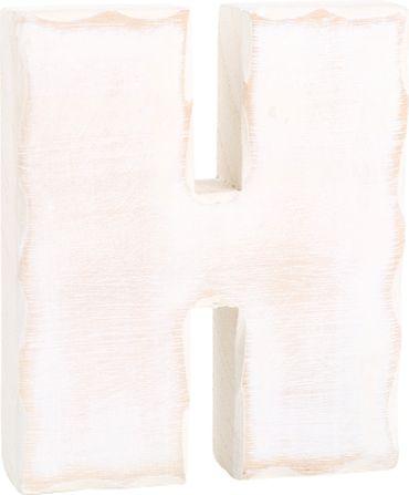 LEGLER Holzbuchstabe H Weiß Shabby Holz 3D Dekoration Größe 15 cm