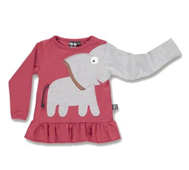 UBANG Shirt Longsleeve Tunika Elefant Frill Faded Rose Gr. 110
