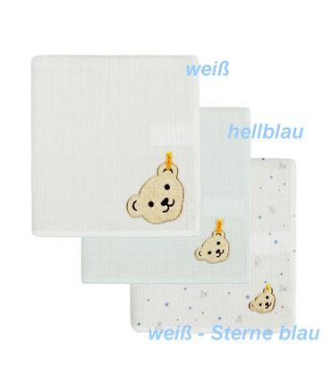 STEIFF 3tlg.Set Spucktücher in Geschenkbox Blue Baby Blue 6846260-3023