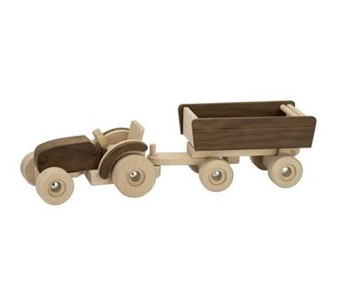 GOKI Nature 55915 Traktor mit Anhänger Holz