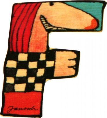 JANOSCH Holzbuchstabe F 6cm Deko Kinderzimmer Namen Geschenk
