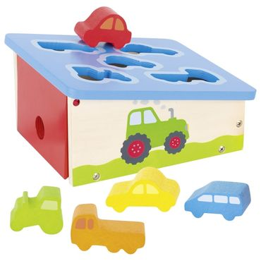 GOKI Sortierbox 58668 Autos Fahrzeuge Holz Steckspiel