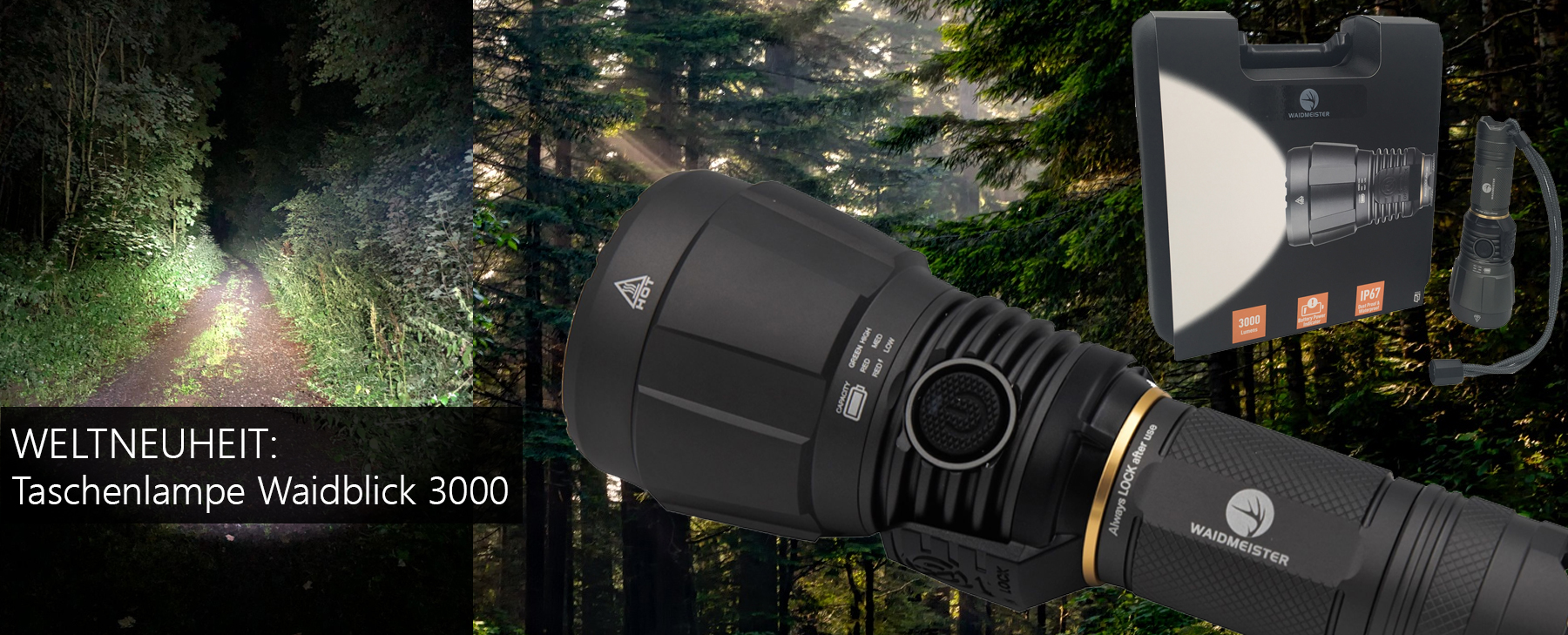 Taschenlampe Waidblick 3000 mit IP67 - 3.000 Lumen aus nur 1 LED Panel