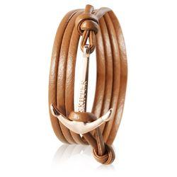Skipper Anker-Armband Wickelarmband Leder in Cognac mit goldenem Anker 7356