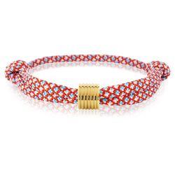 Skipper Armband Surferband maritimes Knoten Armband Rot/Blau mit goldenem Anhänger 7364