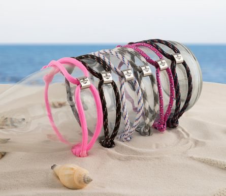 Skipper Armband Surferband Segelknoten maritimes Armband mit Logo Grau 8478 – Bild 4