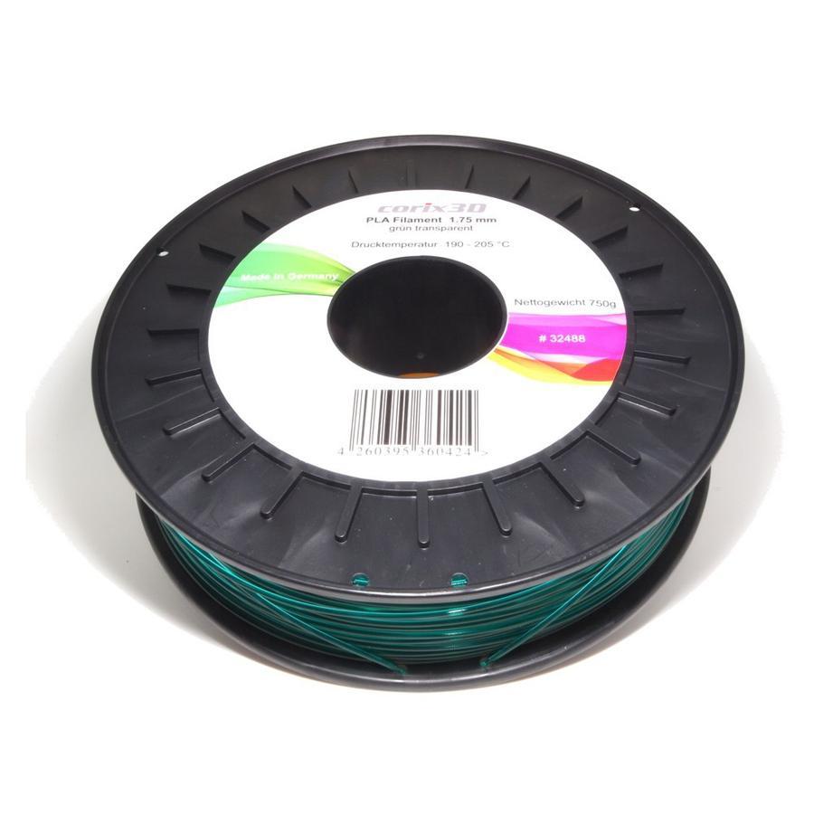 Corix3D PLA Filament 750g, grün transparent, 1.75mm