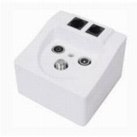 Multimedia-Anschlussdose für ISDN BK SAT Radio ISDN-Netzwerk Telefon, Class A, weiß