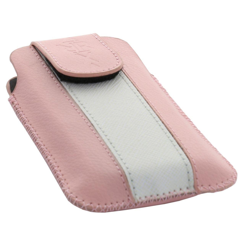 XiRRiX Vertikal Kunstleder/ Kunstleder Tasche - mit Klettverschluss - Größe: S - Pink/ Weiß