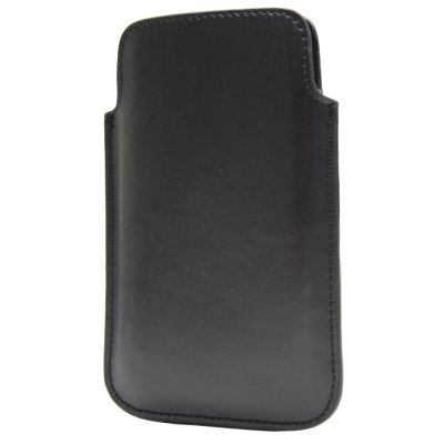 Vertikal / Pouch Kunstleder Tasche - L - f. Apple iPhone SE, Huawei Ascend Y300 etc. - Schwarz