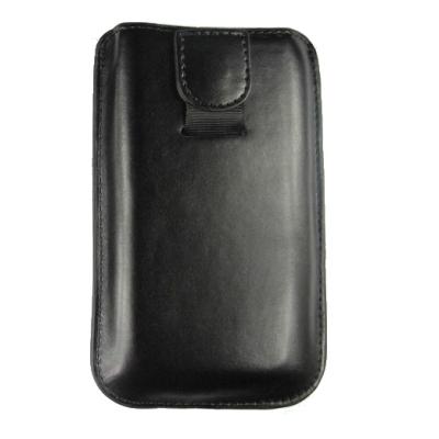 Kunstleder Vertikal Köcher Tasche mit Ausziehhilfe/ Magnet Strap - S - schwarz