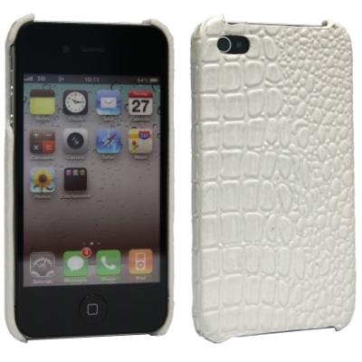 S&G Hard Case / Back Cover für Apple iPhone 4, iPhone 4S - weiß - Design: Croco Look