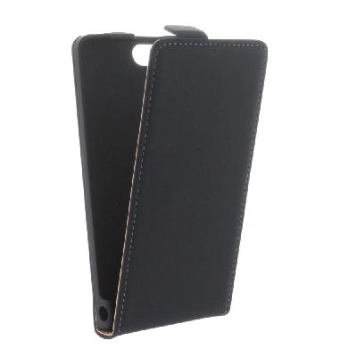 Flip-Style Tasche Vertikal  für Huawei Ascend P7 Mini - mit Halterung - Schwarz