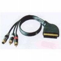 Videokabel (Goldprogramm) Scart-Stecker 21-pol./ 2 Cinch-Stecker + S-VHS-Stecker - 1,5m
