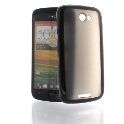S&G TPU / PC Rubber Hülle für HTC One S - schwarz / grau transparent
