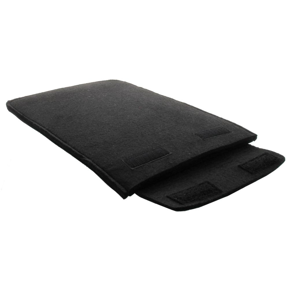 XiRRiX Polyester Filz Tablet Tasche - 5mm - Klettverschluss - bis Innenmaß 265 x 180mm - schwarz