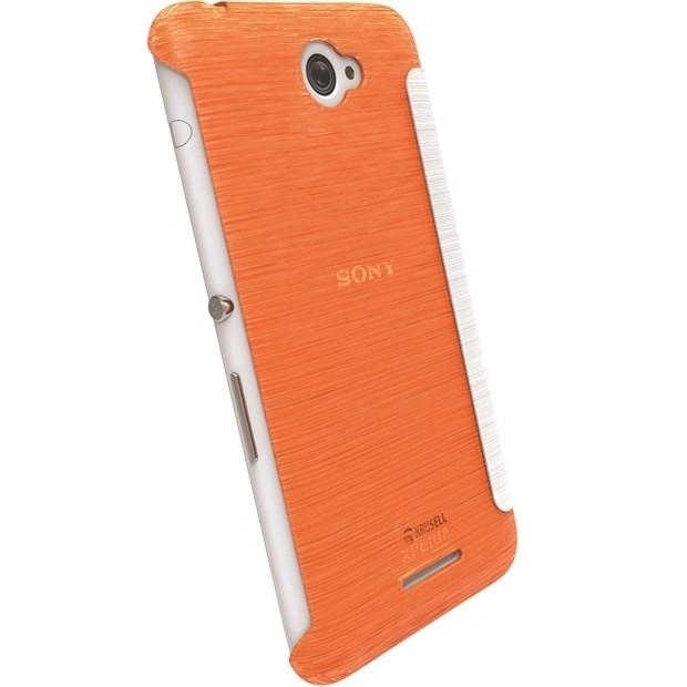 Krusell Tasche Boden FlipCover Partner 90073 für Sony Xperia E4, Xperia E4 Dual - Transparent orange