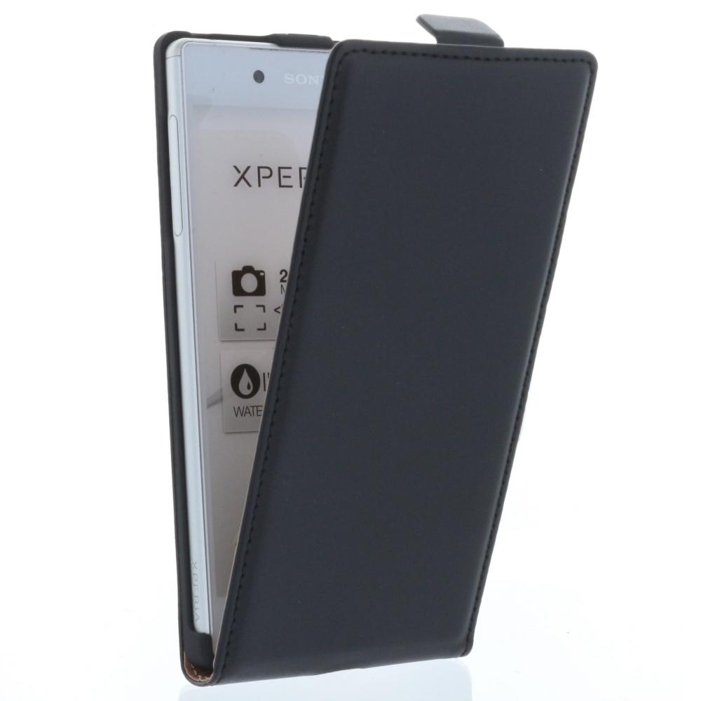 Flip-Style Tasche Vertikal mit Halterung für Sony Xperia Z5, Xperia Z5 Dual - Schwarz