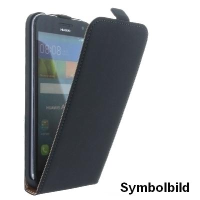 Flip-Style Tasche Vertikal mir Halterung für Huawei Mate S - Schwarz