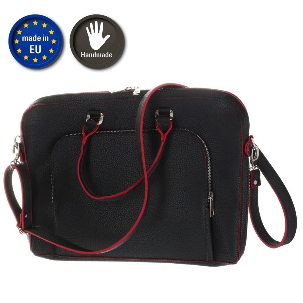 XiRRiX Umhängetasche/ Aktentasche aus Kunstleder - Größe: bis 375 x 295mm - Schwarz - Handmade in EU