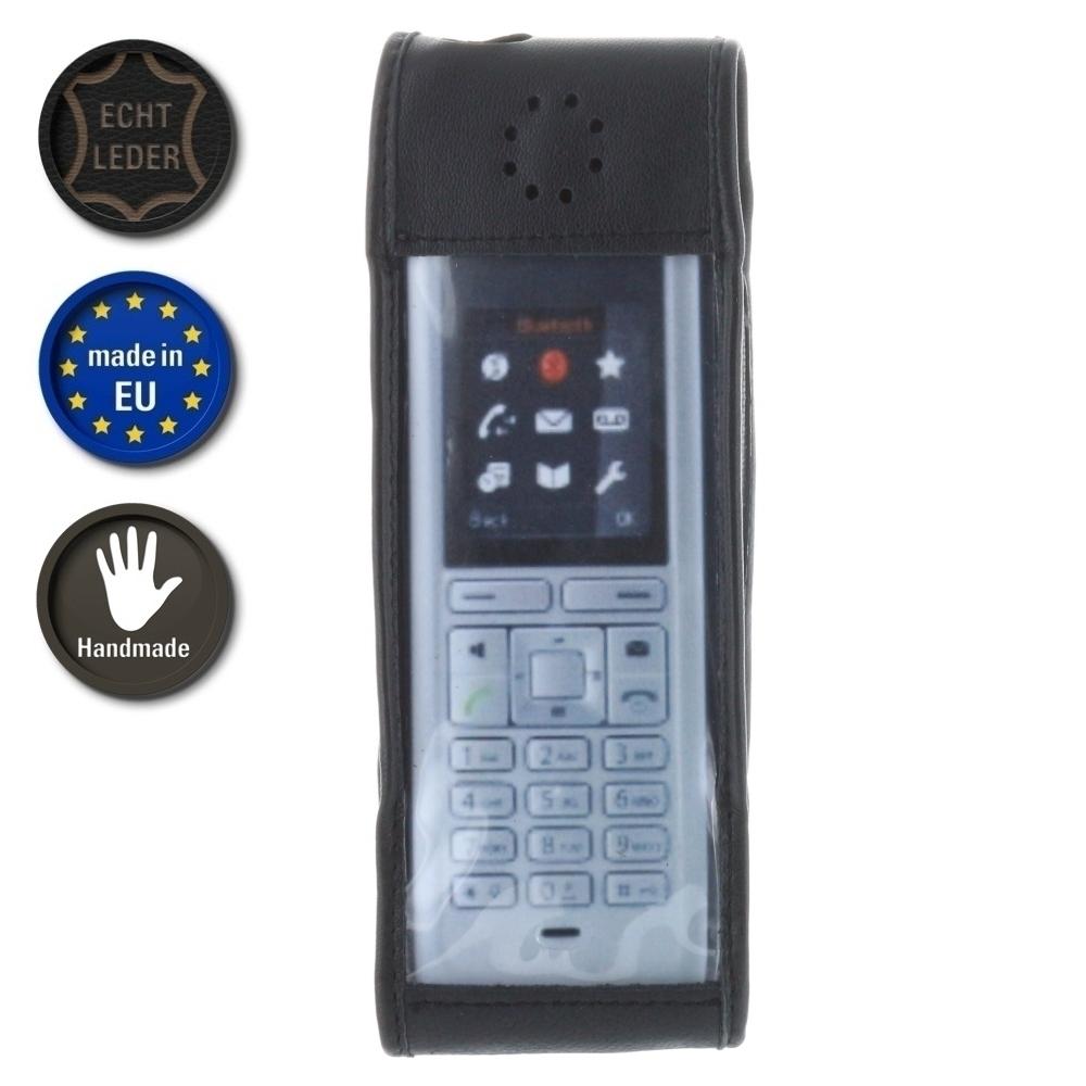 XiRRiX Echt Leder Tasche mit Rotation Gürtelclip für Unify OpenStage M3 / M3 Professional - schwarz