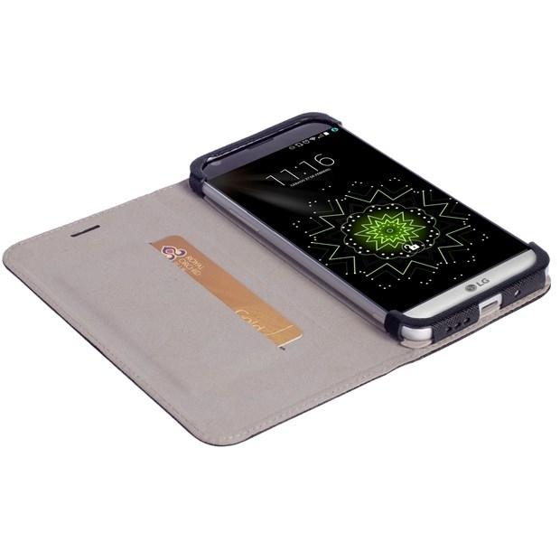 Krusell Tasche Malmö WalletStyle Case Partner 60610 für LG G5 - Schwarz