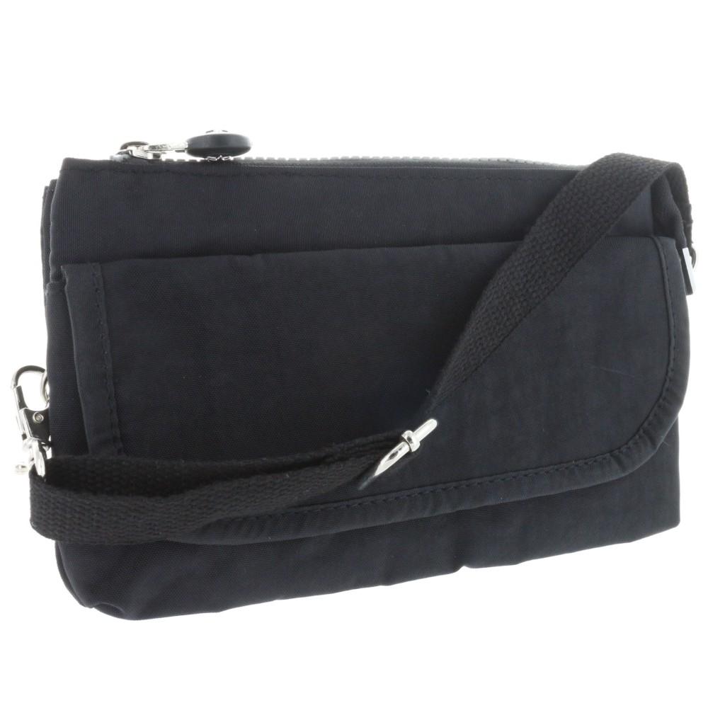 S&G Handtasche m. Reißverschlussfach - Handschlaufe + Schultergurt - Außemaß: 215x130x40mm - schwarz